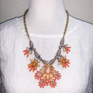 J. Crew Inspired Peach & Gray Jeweled Necklace